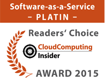 Platin-Award in der Kategorie Cloud Computing/Software-as-a-Service